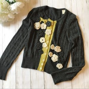 Anthropologie Gray 3D Floral Cable Knit Cardigan